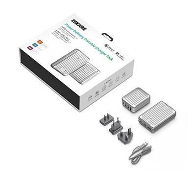 Zendure Charge Pack,Powerbank 10000mAh Plus 4 USB, 30W Wall Charger with Type C QC 3.0 ,Silver
