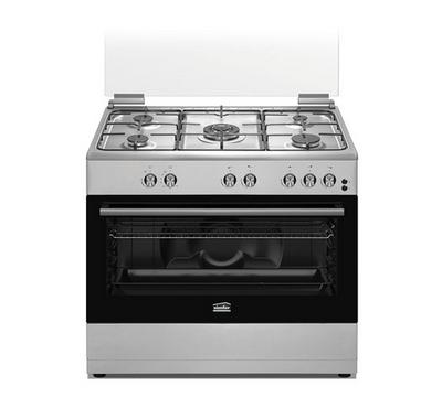 Simfer Gas Cooker, 90X60, 5 Gas Burners, Full Safety, Stainless Steel