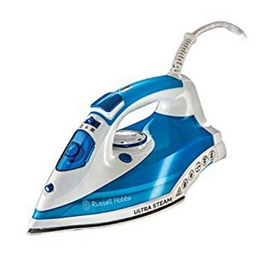 Russell Hobbs 2600W Steam Iron, Ultra Ceramic Soleplate, White&Blue