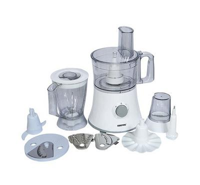 Geepas Food Processor,10 In 1, 500W ,1.2 Ltr  Jar Capacity,White