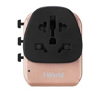 Momax, 1-World AC Travel Adapter, Type-C + 3 USB, Rose Gold