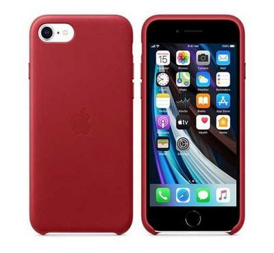 أبل غطاء خلفي لأيفون إس إي 2020 جلد، أحمر