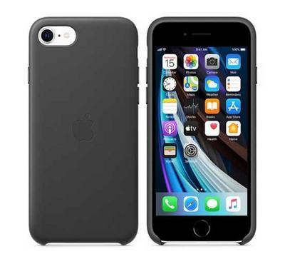أبل غطاء خلفي لأيفون إس إي 2020 جلد، أسود