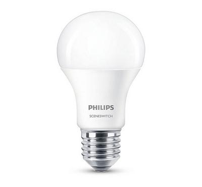 Philips 7W LED Candle, 3 Step Scene Switch, 6500K, E27, White.
