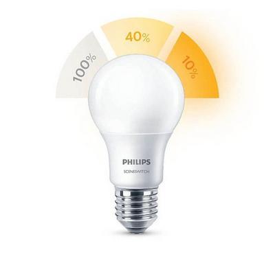 Philips 7.5W LED Bulp, 3 Step Switch Scene, 3000K, E27, White