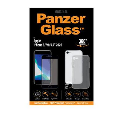 PanzerGlass Screen protector iPhone SE 2020 Case Friendly with Clear Soft Case,Clear