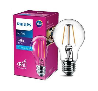 Philips 4W LED Bulb, 6500K, A60, E27, White