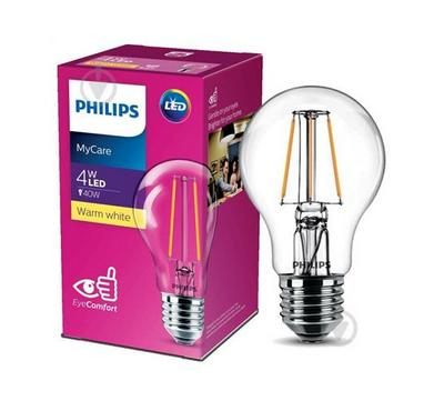 Philips 4W LED Bulb, 3000K, A60, E27, White