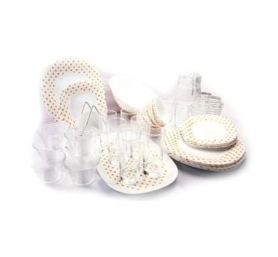 Korkmaz Diwali Golden Dinner Set, White