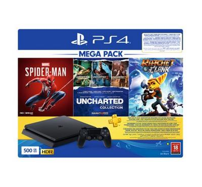 PlayStation 4, 500GB Mega Pack Bundle with 3 Games (Spider Man+Uncharted Collection+Ratchet & Clank)
