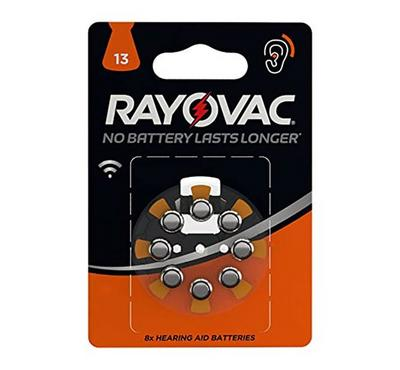 Varta Hearing Aid Battery, Pack Of 8 Ray O VAC 13AU BL8, Silver