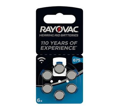 Varta Earing Aid Battery, Pack Of 6, RAY O VAC 675AU BL6, Silver.