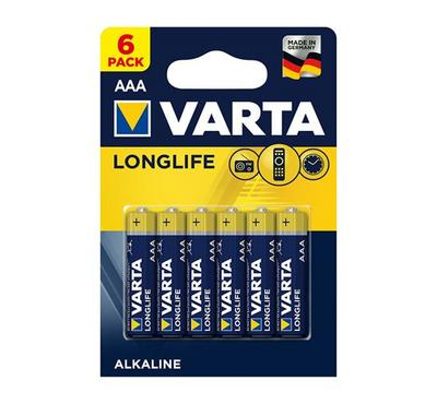Varta Longlife Alkaline AAA Battery, 6Nos, Blue