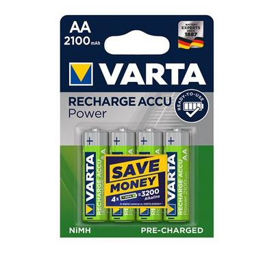 Varta, AA Rechargeable Battery,2100mAh ,4 nos, Green