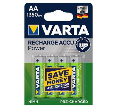 Varta, AA ACC.R2U, Rechargeable Battery,1 350mAh, 4nos, Green
