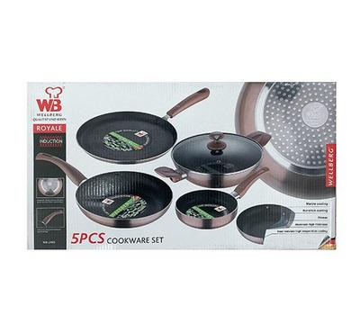 Wellberg, Marble Coating 5 pcs Cookware Set Press Alu-Induction