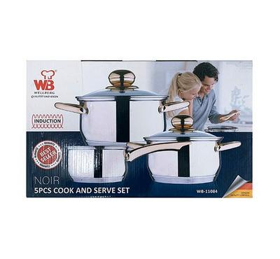 Wellberg, 5 pcs Cookware Set with S/S Induction