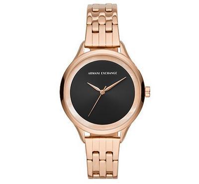 أرماني إكستشينج، ساعة نسائية، مينا سوداء، ذهبية موردة