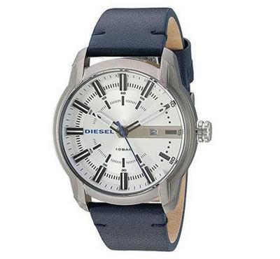 ديزل، ساعة رجالية، مينا بيضاء، زرقاء
