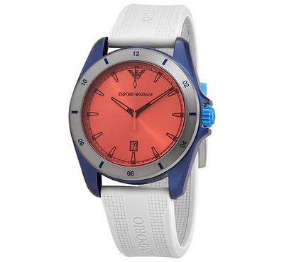 Emporio Armani, Men's Watch, White With Red Dail