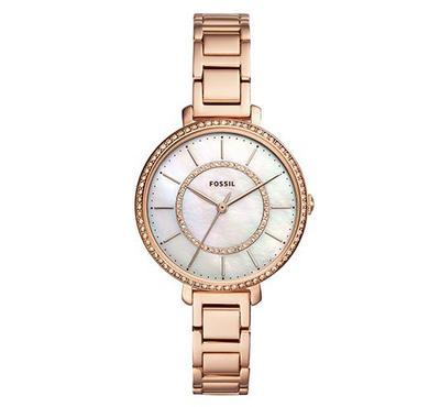 فوسيل، ساعة نسائية، مينا بيضاء، ذهبية موردة