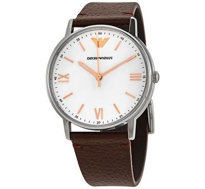 Emporio Armani, Men's Watch, Brown With White Dail