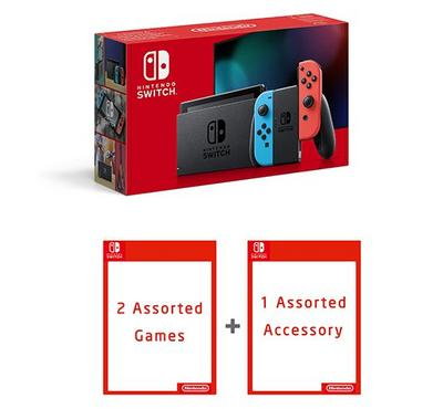Nintendo, New Switch Neon Console, Assorted games, Assorted Accessory, Red