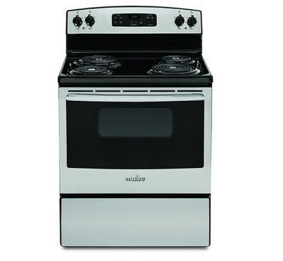 Mabe Electric Cooking Range, 4 Coil Burner, Black with Stainless Steel