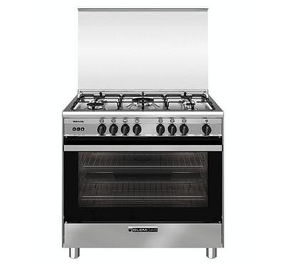 Glemgas 90x60cm Gas Cooking Range With Convection Full Safety, 5 Gas Burners, Stainless Steel