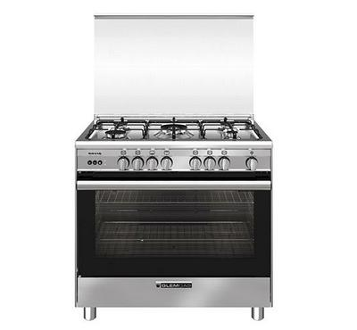Glemgas 90x60cm Gas Cooking Range With Grill Full Safety, 5 Gas Burners, Stainless Steel.