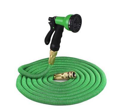 E-Links,15M Expandable Garden Hose Pipe, Multifunction Spray Gun, Green