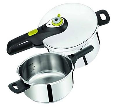 Tefal, 6Ltr Pressure Cooker, 2 Pcs Set, Secure NEO V24, Stainless Steel