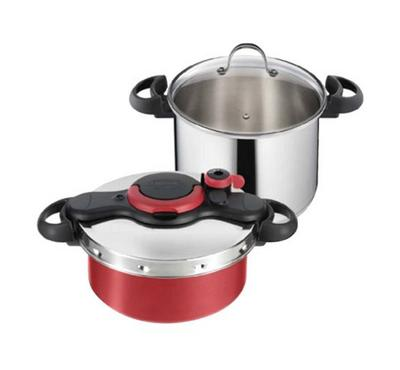 Tefal, 4 Pcs Cooking Set, Clipso Minut Set, EASY 7.5L + DUO BASKET, Stainless Steal