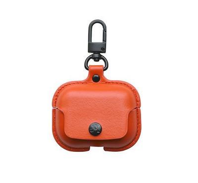 جينيا ايرباك حقيبة جلد لاجهزة ابل ايربودز برو، برتقالي