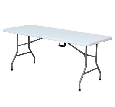 6 Foot Fold in half Table, 180x75x74CM, white