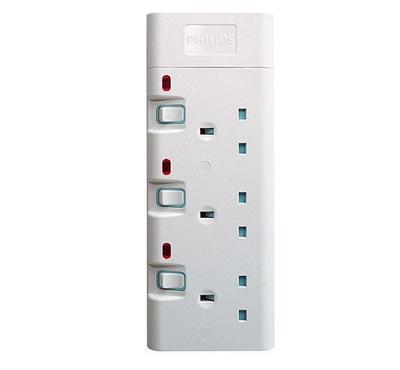 فيليبس، وصلة كهربائية 3 فتحات، سلك 2 متر، أبيض