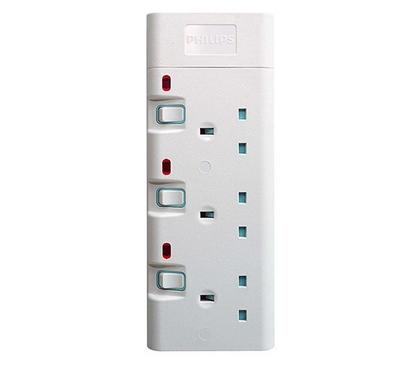 Philips, 3Way Uk Type Socket With Individual Switches, 2M, White