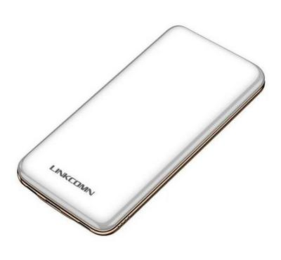 Linkcomn, 10000mAh Power Bank, Slim, Dual USB Input Ports, LED Indicator, White