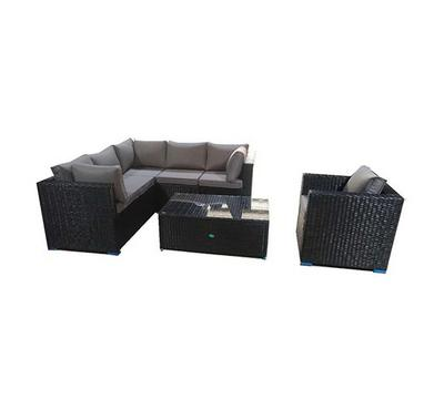 Homez, Rattan sofa set, steel frame, PE rattan with 8cm thickness cushion