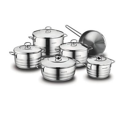 Korkmaz, ASTRA XXL, 11pcs, Stainless Steel Cookware Sets, Silver