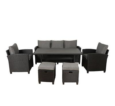 Albany311  Dining Set, 6 pcs, Black & Grey