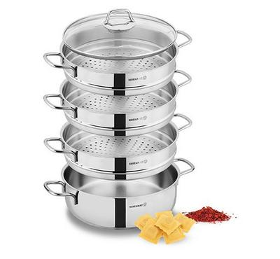Korkmaz, PERLA 4 Layers, Food Steamer Sets With Glass Lid, Stainless Steel