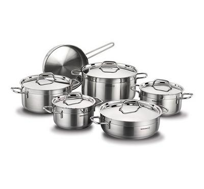 Korkmaz, ALFA XXL11Pcs Stainless Steel Cookware Sets With Stainless Lid, Silver