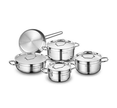 Korkmaz, ALFA 9Pcs Stainless Steel Cookware Sets With Stainless Lid, Silver