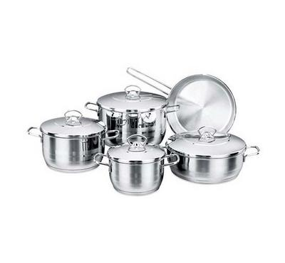 Korkmaz, ASTRA 9Pcs Stainless Steel Cookware Sets With Stainless Lid Silver