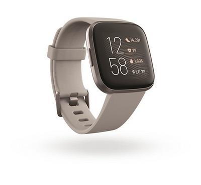 Fitbit Versa 2 Smartwatch, Stone Mist Grey Aluminum