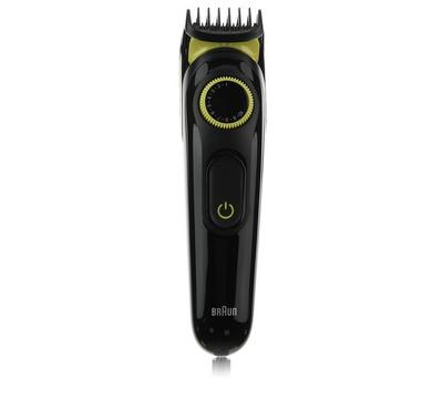 Braun Beard Trimmer and Hair Clipper, Black/Volt Green,