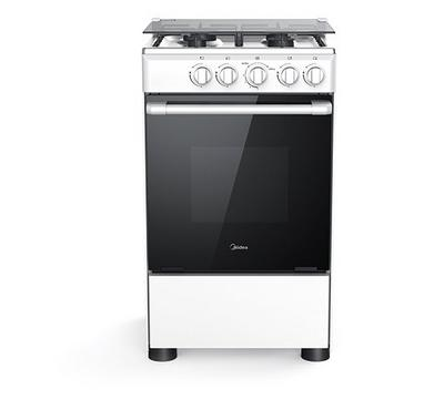 Midea 50x55cm Gas Cooking Range With Gas Grill, 4 Gas Burners, White.