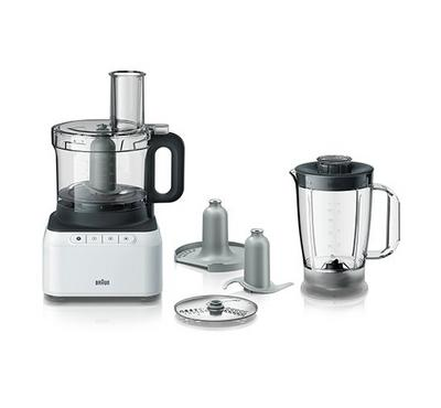 Braun PurEase Food Processor, 800W, 2 Speeds+Pulse, 2.1L Bowl,White/Grey