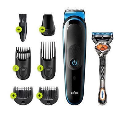 Braun 7-in-1, All-in-One Trimmer, Beard Trimmer and Hair Clipper, Black/Blue